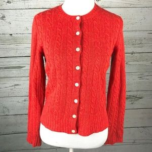 J. CREW Vintage Orange Red Cashmere Wool Cardigan